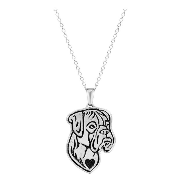 Boxer Dog Etched Silver Chain Pendant Dog Necklace Dog De Bordeaux- Boxer- Bulldog By Pashal - C412DF74PGB