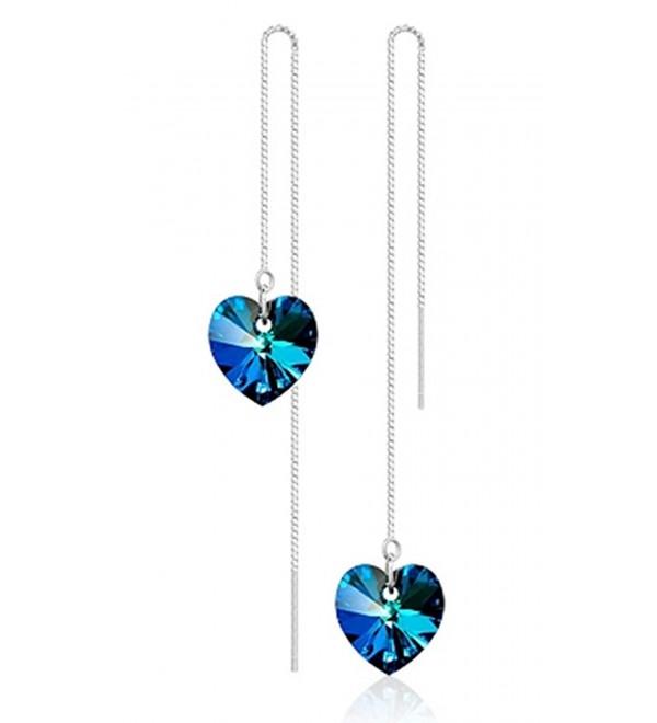 Injoy Jewelry Blue Crystal Threader Drop Earrings Dangle Threader Earrings for Women Girls - Blue Crystal - CM18364OCEK