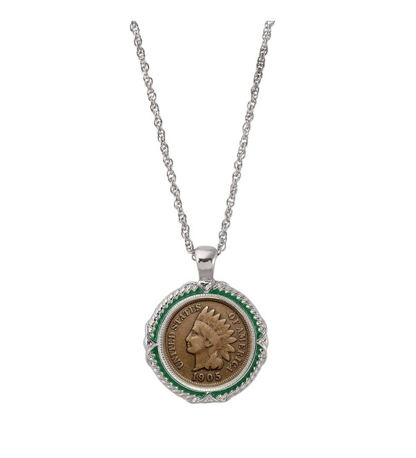 American Coin Treasures Indian Head Penny Green Enamel Coin Pendant Necklace - CW11RZQ5M3T