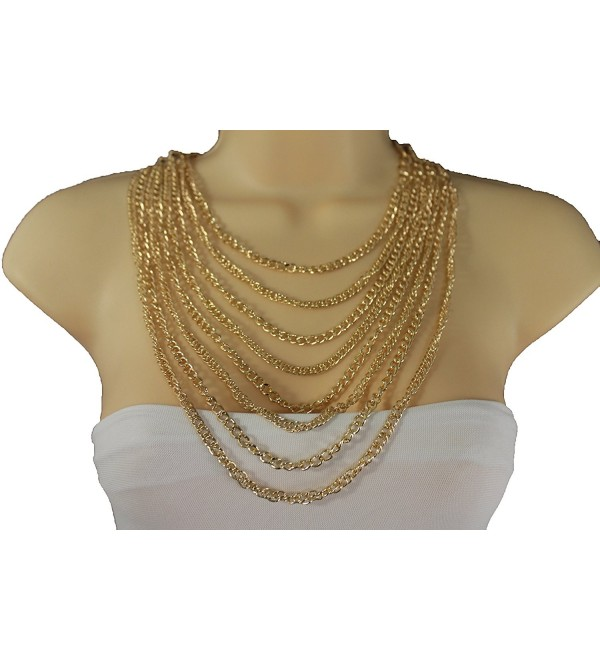 TFJ Women Metal Chain Links Fashion Jewelry Long 8 Strands Necklace Gold Color - CW12BLTXLBP