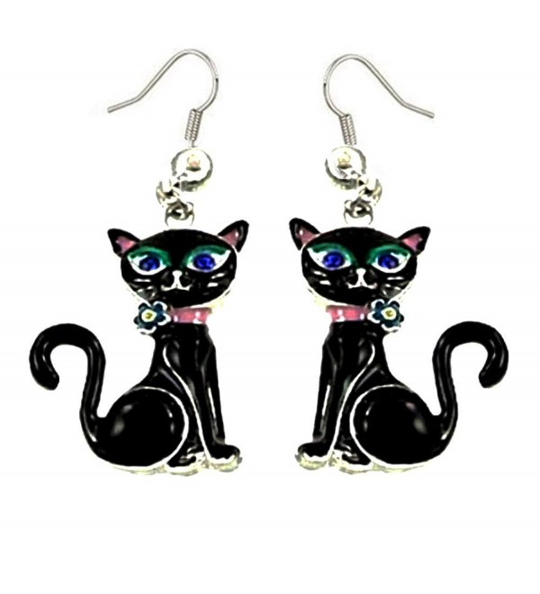 DianaL Boutique Adorable Black Kitty Cat Earrings Enameled Gift Boxed Fashion Jewelry - C512GW33KS9