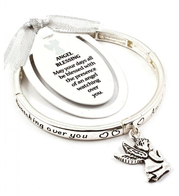 Accessory Accomplice Silvertone Engraved Kneeling Angel Blessing Charm Stretch Bangle Bracelet - C611H3GJUE3