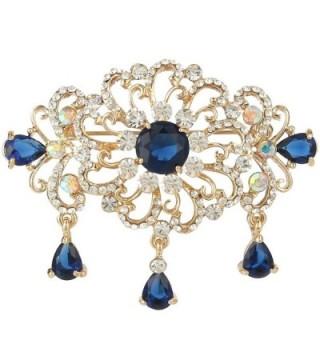 EVER FAITH Women's Austrian Crystal Zircon Art Deco Flower Tear Drop Brooch Gold-Tone - Sapphire-Color - CC11XMQ3Y5T