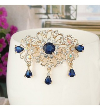 EVER FAITH Austrian Sapphire Color Gold Tone in Women's Brooches & Pins