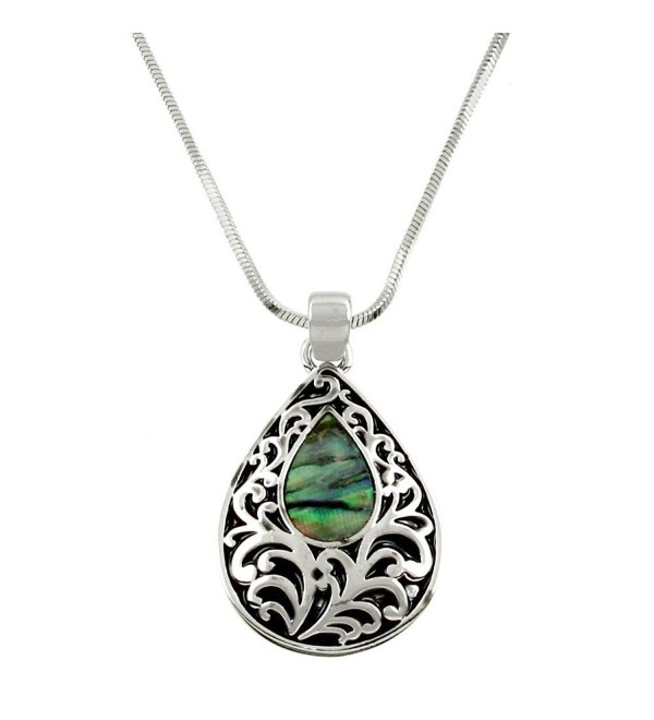 DianaL Boutique Filigree Tear Drop Pendant Necklace Abalone Shell Gift Boxed - CQ11PW08D5T