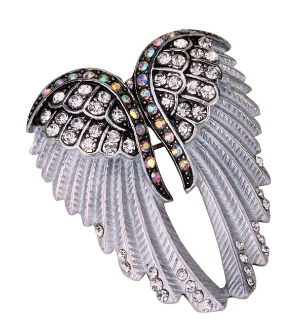 Angel Jewelry Women's Crystal Angel Wings Pin Brooches Pendants - silver - C917YYRAK5K
