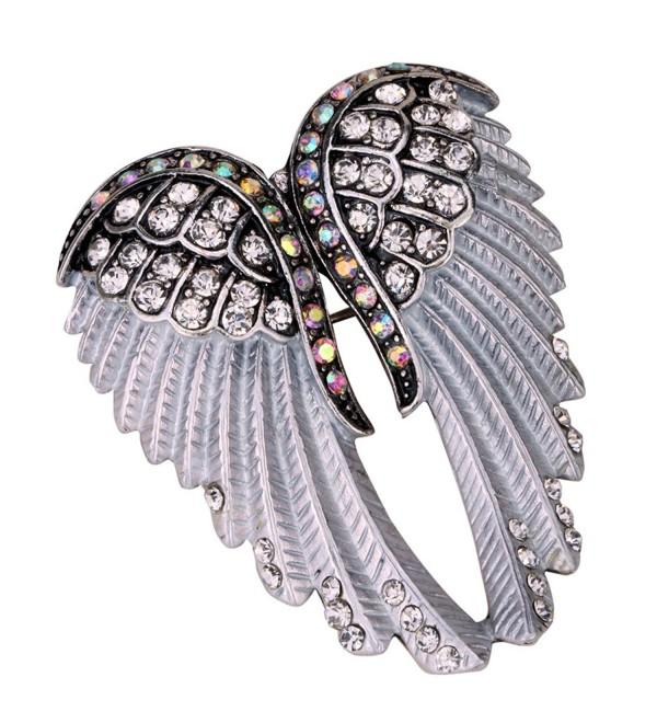 Angel Jewelry Women's Crystal Angel Wings Pin Brooches Pendants - silver - C917YYRAK5K