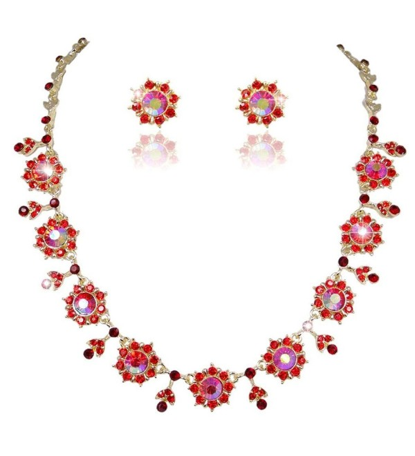 EVER FAITH Gold-Tone Flower Snowflake Necklace Earrings Set Red Austrian Crystal - CT11GG5RY3V