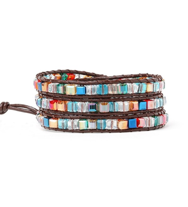 Multicoloured Crystal Bead Bracelets For Women Girls Best Friend Genuine Leather Beaded Bracelet 3 Wrap - CH188YTHAXS