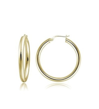Hoops & Loops Sterling Silver 3mm High Polished Small Round Hoop Earrings - C812CLALQZ5
