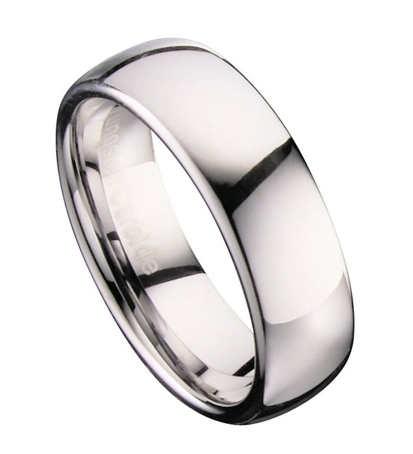 MJ 7mm Classic Polished Tungsten Carbide Mirror Finished Wedding Band Ring - C811QN2EZVL
