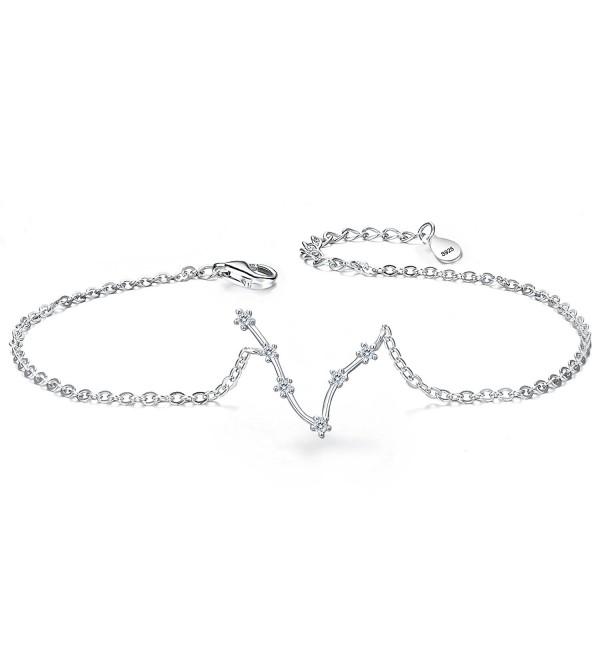 BriLove Women 925 Sterling Silver Wedding Bridal CZ Horoscope Zodiac 12 Constellation Astrology Link Bracelet - CF188GIU7WC