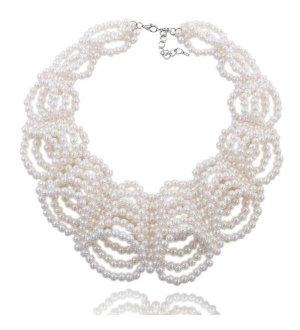 Kalse White Simulated Pearl Beads Statement Bib Collar Charm Chunky Necklace - White-Cluster - CJ12MXR6N09