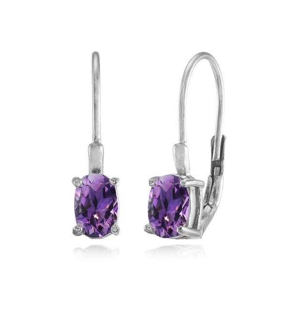 Sterling Silver African Amethyst 6x4mm Oval Leverback Earrings - CA12F0K5WS1