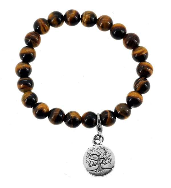 Tree of Life- Buddha- Om Charm Simulated Tiger Eye Bracelet - C011LP04EUN