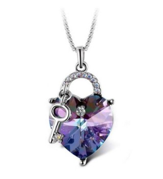 "T400 Jewelers ""Lock and Key"" Heart Swarovski Elements Crystal Pendant Necklace-Lover Gift - Purple - CL17Z2A44WI"