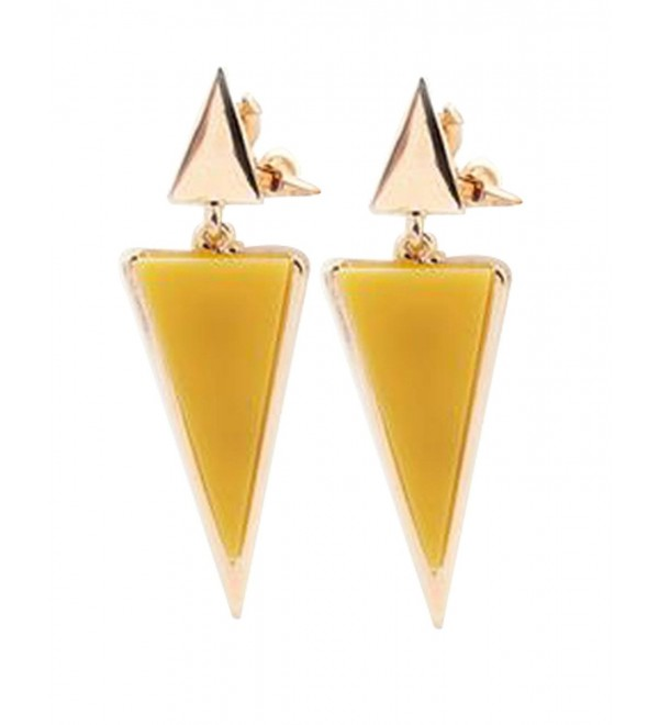 CNCbetter Women Fashion Jewelry Yellow Triangle Colorful Charms U Shaped Back On Clip Earring - CT122WO3KGT