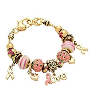"""Rosemarie Collections Women's Breast Cancer Awareness Beaded Bracelet Pink Ribbon """"Love"""" Charm - Gold - CP121SADN1J"""