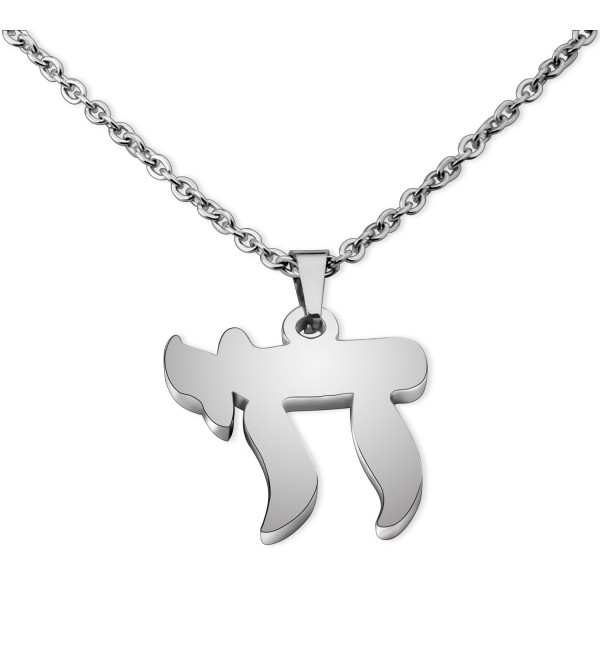 Jewish Chai Necklace Bar Mitzvah Bat Mitzvah Gift - Silver Chai Necklace - CY188E73XNA