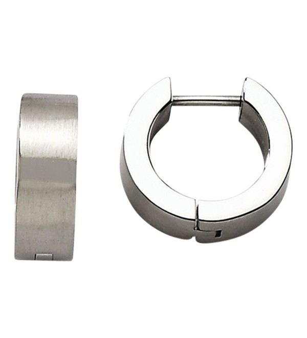 Stainless Steel Brushed Round Hinged Hoop Earrings - CB11HUOIH97
