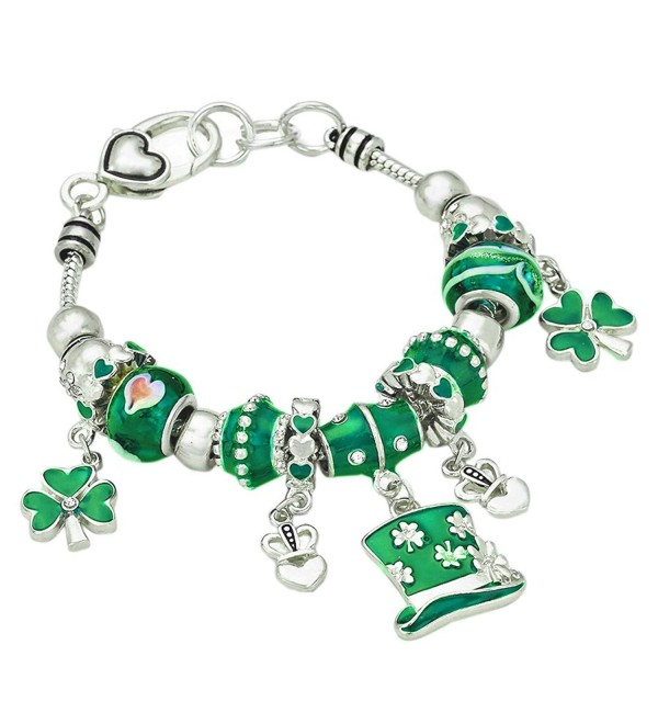 Rosemarie Collections Women's Irish Shamrock Claddagh Glass Bead Charm Bracelet - CK11V7GPPSF