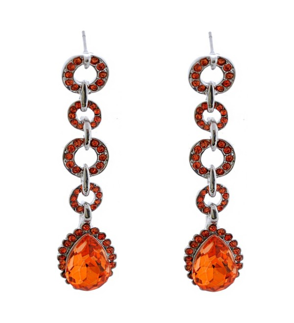 Topwholesalejewel Fashion Jewerly Rhodium Plating Padparadscha Teardrop Earrings - CU187QZS7W4