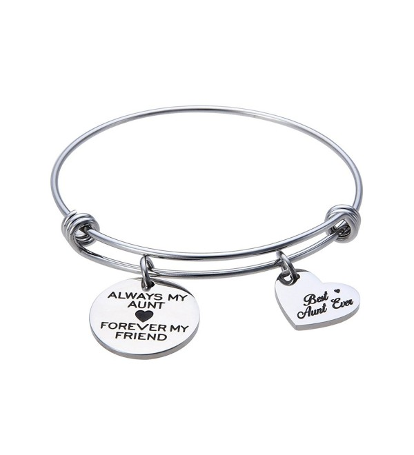 Jewelady Always My Aunt Forever My Friend Engraved Stainless Steel Expandable Bangle Bracelet with Heart Charm - CL186C4SX36