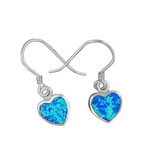 Sterling Silver Synthetic Blue Opal Small Heart Dangle Earrings - CA11KX4ZFKP