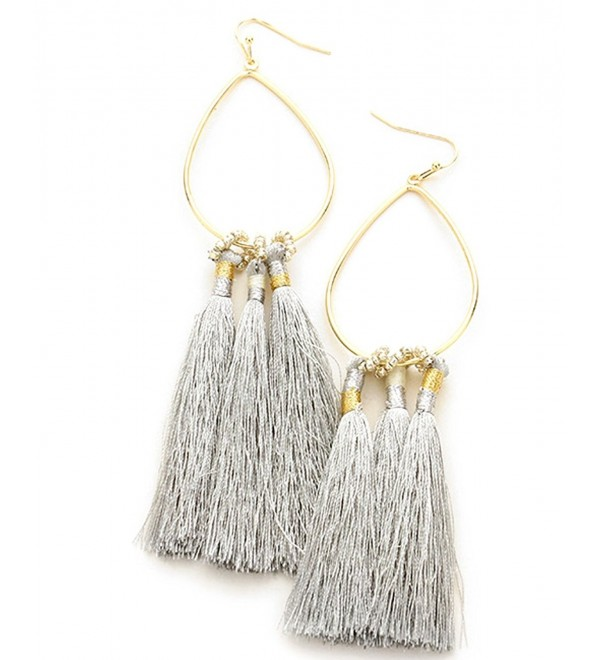 Women's Bead and Dangling Tassel on Metal Teardrop Fish Hook Pierced Earrings - Gray/Gold-Tone - CU184D4TR9H