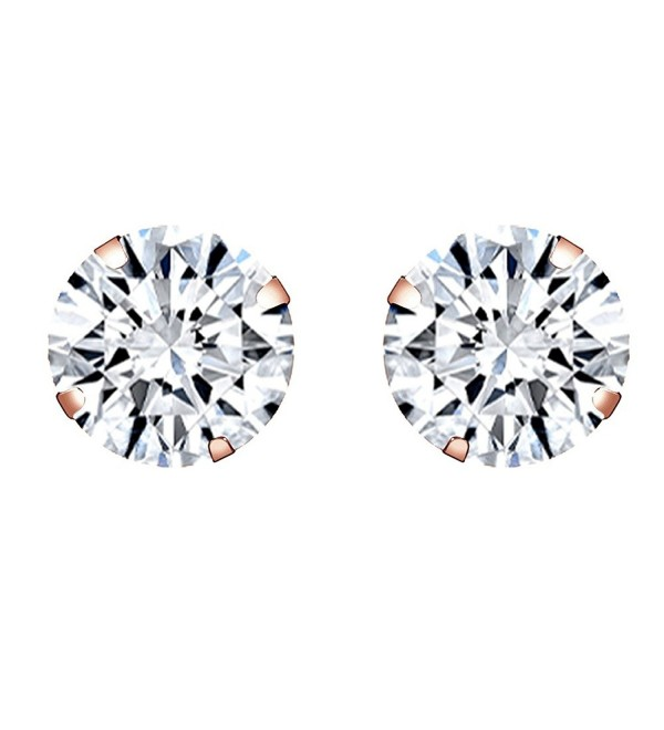 10k Rose Gold 5mm Round Stud Earrings - Cubic Zirconia - CS12MXWP9UL