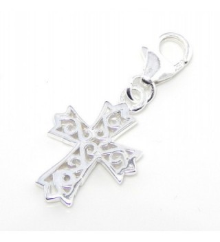"Pro Jewelry .925 Sterling Silver Dangling ""Cross"" Clip on Pendant Charm for Bracelet or Necklace ECH JB 4675 - C811JUW3XG9"
