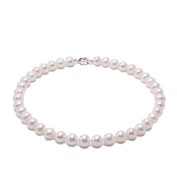 "JYX 8-9mm AAA Classic White Round Freshwater Pearl Necklace 16-64"" - C1184X7TI8K"