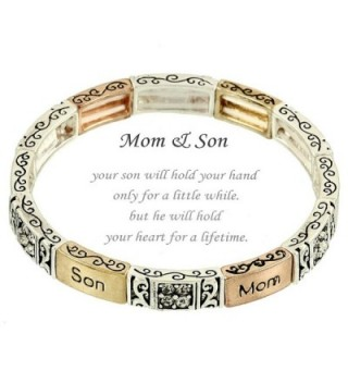 Beautiful Inspirational Tri Tone Mom & Son Blessing (Mother's Day) Stretch Bracelet (with Gift Box) - CW12FWQBK07