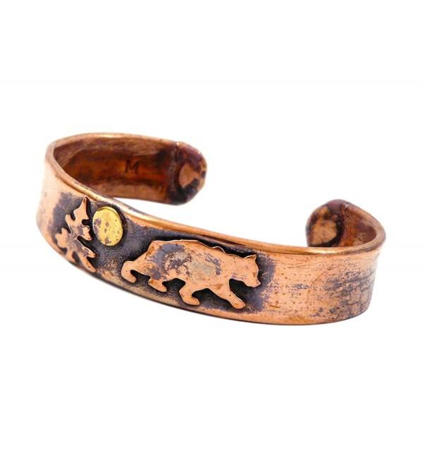 American Made Rustic Unisex Copper Cuff Bracelet - Bear - CX11NI7XFQF