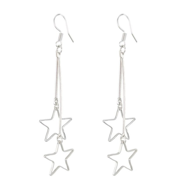 uxcell Women Metal Star Shaped Pendant Dangler Hook Eardrop Earrings Pair Silver Tone - C911B875F6F
