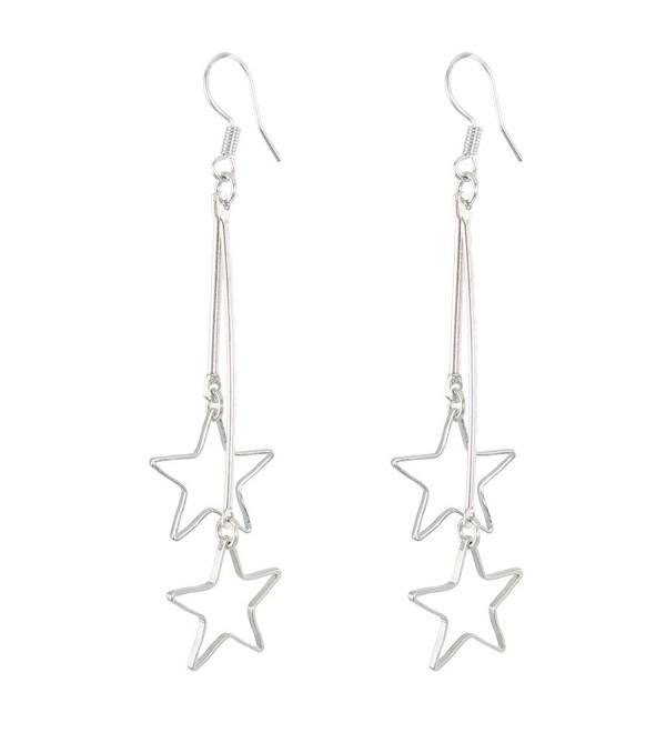 uxcell Women Metal Star Shaped Pendant Dangler Hook Eardrop Earrings Pair Silver Tone - C911B875F6F