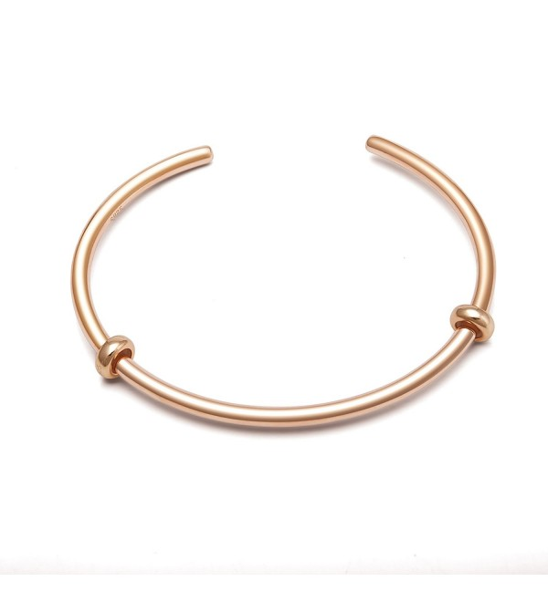 Authentic Sterling Silver Bangles Bracelet - Rose Gold(7.5 inch-19 cm) - CB180KZE8KC