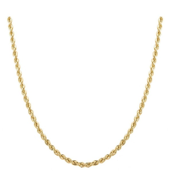 "Sterling Silver 2mm diamond cut rope chain necklace in 18k gold plating- Available in 16""- 30 "" - CX188Q9I3ER"