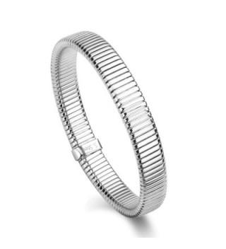 "316L Stainless Steel Tubogas Design Flexible Wristband Stretch Link Chain Bracelet 7"" - Silver - C611ZHMZUW1"