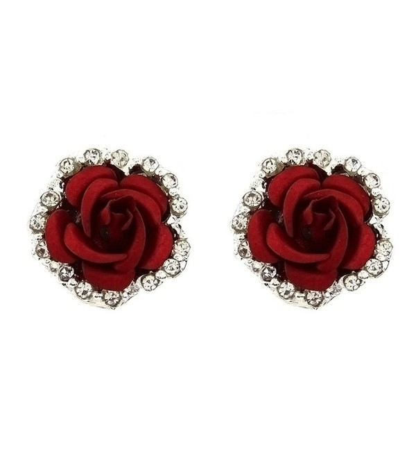 Silver Plated Cubic Zirconia Shining Red Coral Carved Rose Flower Womens Stud Earrings-14MM - CG17YDEERLK