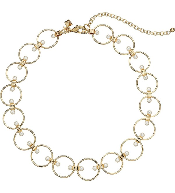 Rebecca Minkoff Womens Encircled Floating Pearls Choker Necklace - Gold/Pearl - CM186GUENTG