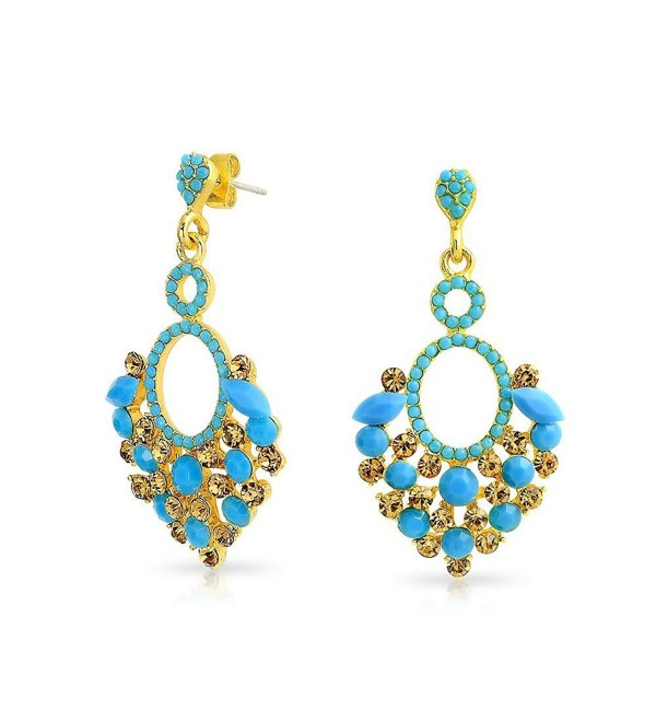 Bling Jewelry Gold Plated Alloy Estate Blue Crystal Chandelier Earrings - CT128PILVCV