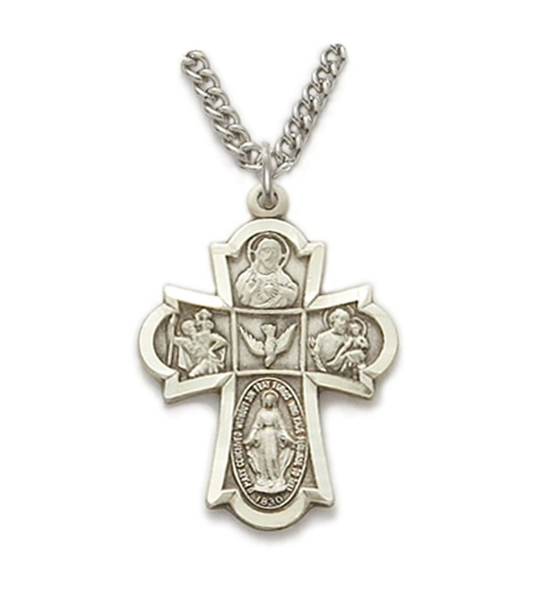 Sterling Silver Hand Engraved Five Way Medal Cross- 7/8 Inch - C6118J5GW6V