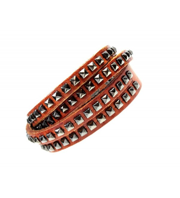 Hip Pyramid Stud Medium Tan Brown Leather Double Wrap Cuff Boho Bracelet - CH1162PBU49