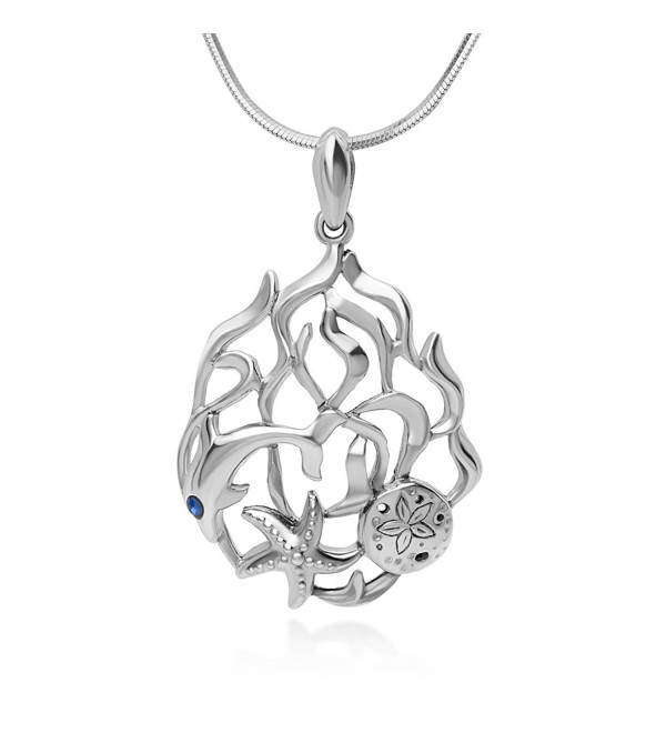 "925 Sterling Silver Open Coral Dolphin Fish Sand Dollar Starfish Underwater Pendant Necklace- 18"" - CT12BOY80MH"