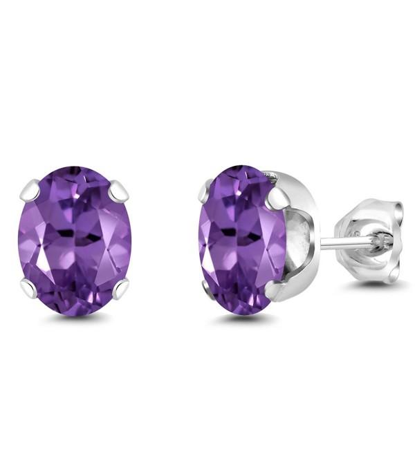 2.00 Ct Oval 8x6mm Purple Amethyst 925 Sterling Silver Stud Earrings - CN1179U01UP