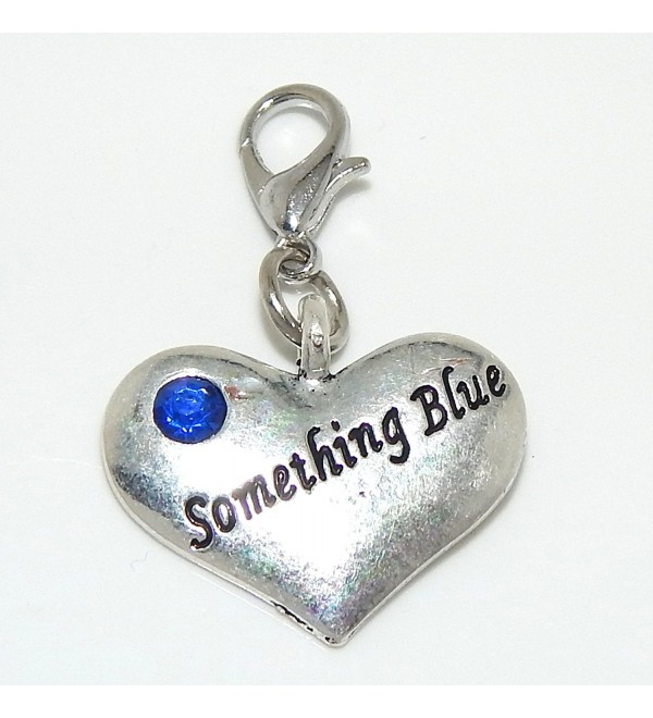 "Pro Jewelry Clip-on ""Something Blue Heart w/ Blue Crystal"" Charm Dangling - C111LXK0NQT"