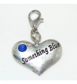 """Pro Jewelry Clip-on """"Something Blue Heart w/ Blue Crystal"""" Charm Dangling - C111LXK0NQT"""