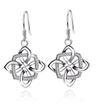 JUFU Women's Good Luck 925 Sterling Silver Celtic Knot Drop&Dangle Earrings Drops - Silver - C01859HZKIG