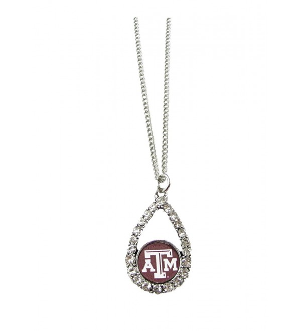 Texas A&M Aggies Maroon Teardrop Clear Crystal Silver Necklace Jewelry TAMU - C811J1G0O75